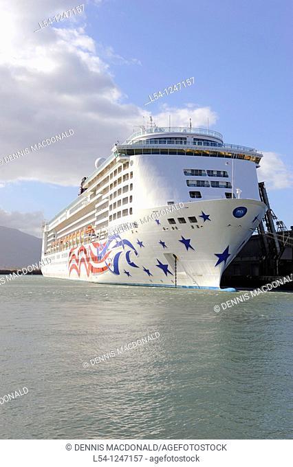 NCL Cruise Ship in Kahului Harbor Maui Hawaii Pacific Ocean