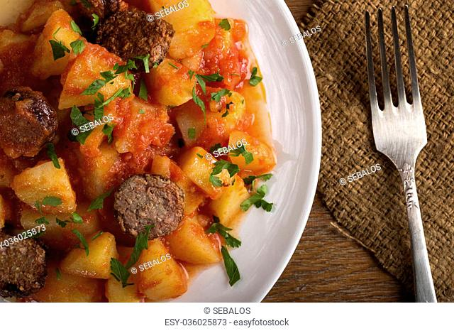 Potatoes with chorizo cooked Rioja style, a traditional Spanish recipe