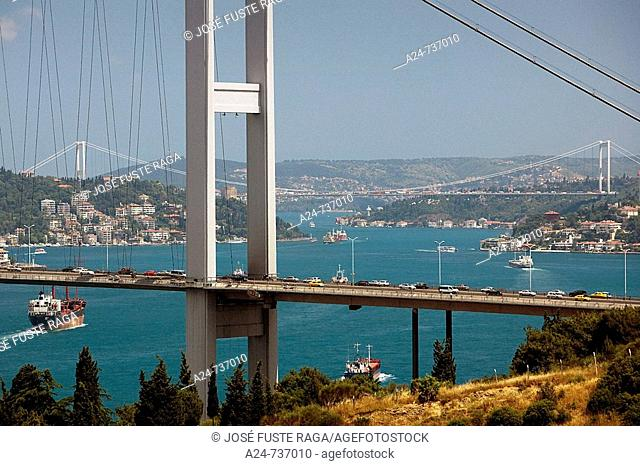 Bosphorus Bridge and Fatih Sultan Mehmet Bridge, Bosphorus Strait, Istanbul, Turkey