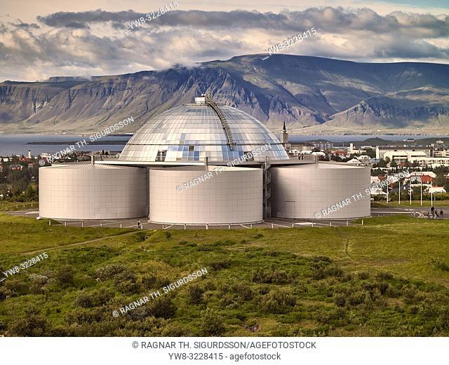 Perlan Museum (The Pearl) Reykjavik, Iceland. . Perlan exhibits Icelandic nature in unique high-tech ways