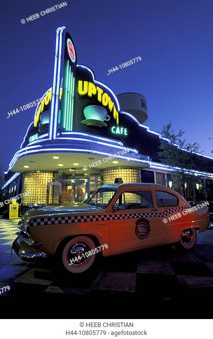 Branson Missouri, Route 66, Uptown Cafe, USA, America, United States, night, taxi, food, neon