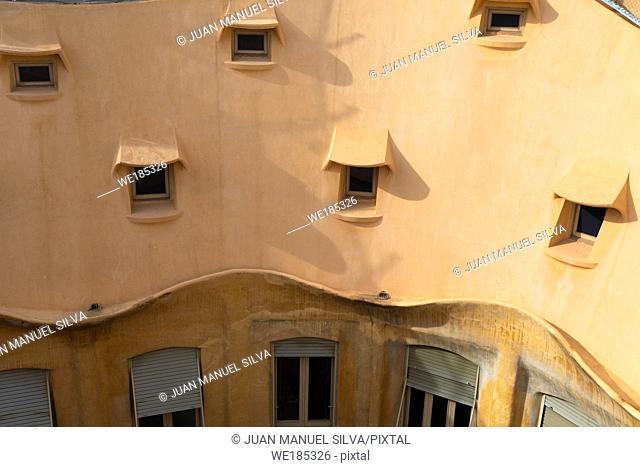 Roof of Casa Milà, Passeig de Gràcia, Barcelona, Catalonia, Spain