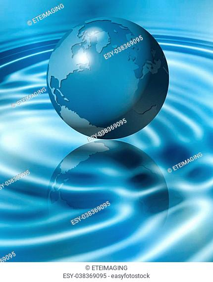 An illustration of Earth flying above water and making ripples on the surface
