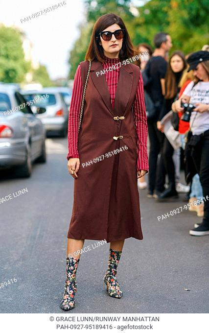 Blogger Valentina Siragusa posing outside of the MSGM runway show during Milan Fashion Week - Sept 24, 2017 - Photo: Runway Manhattan/Grace Lunn ***For...