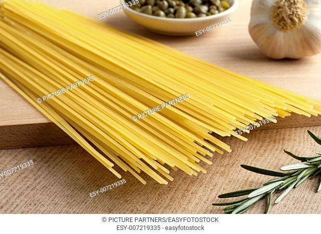 Raw dried traditional Italian spaghetti