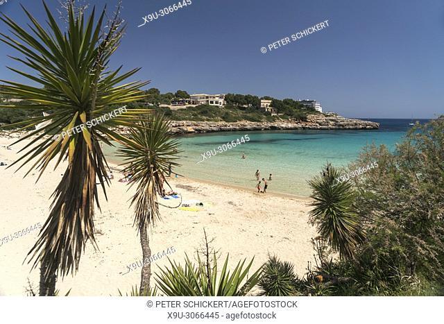 swimming bay Cala Marcal, Portocolom, Majorca, Balearic Islands, Spain