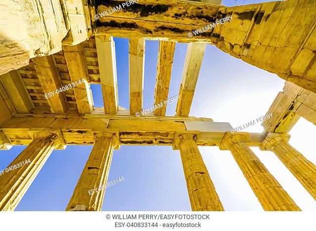 Propylaea Ancient Entrance Gateway Ruins Acropolis Athens Greece Construction ended in 432 BC
