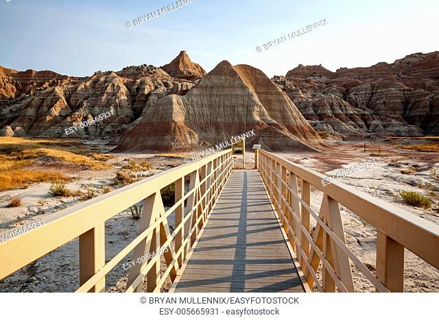 Walkway and rock formations in Badlands National Park, South Dakota