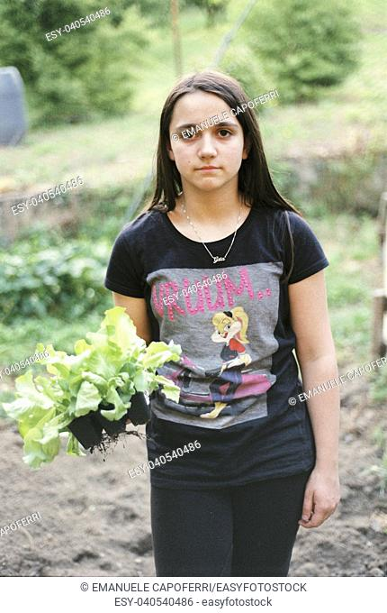 portrait of teenager with salad seedling in hand in the vegetable garden, ready to be planted
