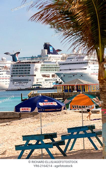 Cruise ships seen from Junkanoo Beach, Nassau, Bahamas, Caribbean
