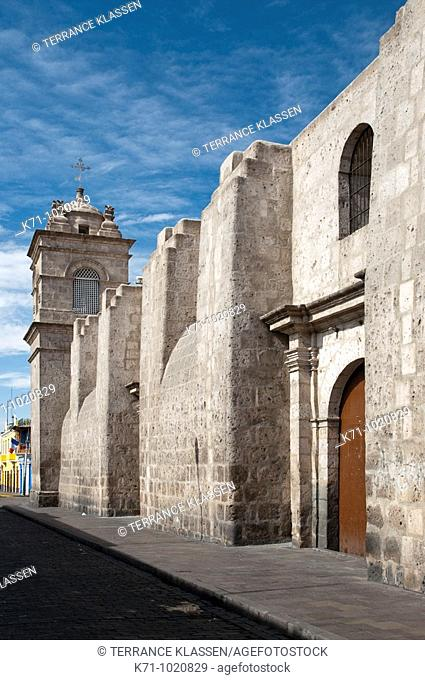 Exterior facade of the Santa Catalina Monastery in Arequipa, Peru, South America