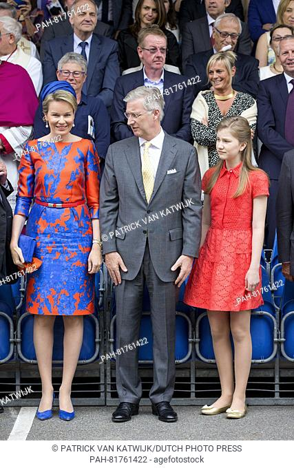 King Philippe, Queen Mathilde and Princess Elisabeth of Belgium the 18th Ommegang procession, part of the Kroningsfeesten