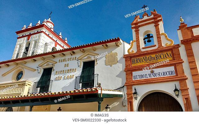 Sanlúcar de Barrameda house in El Rocio village, Doñana National Park, Huelva province, Andalusia, Spain