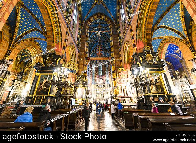The main nave of Saint Mary's Basilica, a Brick Gothic church adjacent to the Main Market Square in Kraków. Cracow, Kraków County, Lesser Poland Voivodeship