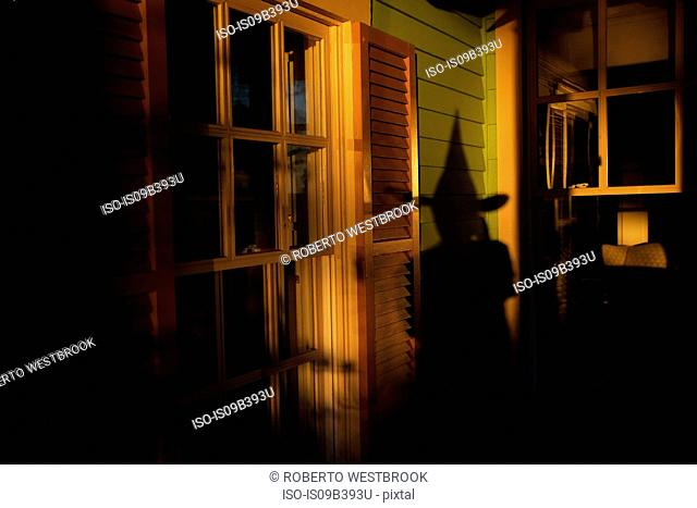 Shadow of witch on house, at Halloween, Norfolk, Virginia, USA