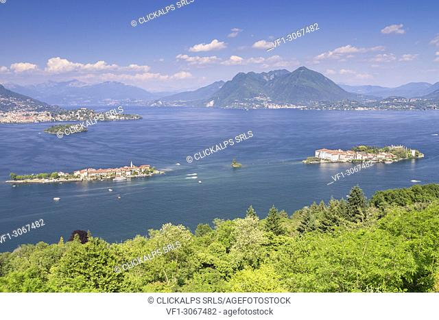 View of the Borromean Islands, Isola dei Pescatori,Isola Bella and Isola Madre, from a viewpoint over Stresa in a spring day, Verbano Cusio Ossola
