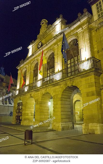 Haro is a medieval village in La Rioja Spain.The city hall building by night