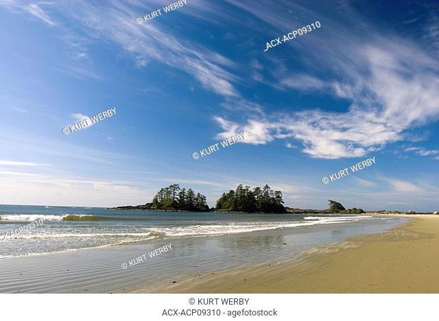 A sunny day with whispy clouds at Chesterman Beach near Tofino, Vancouver Island, British Columbia, Canada
