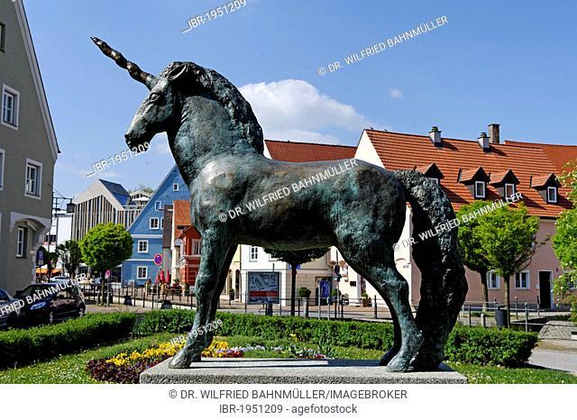 Unicorn sculpture, Frauenkirchplatz square, Memmingen, Bavarian Swabia, Bavaria, Germany, Europe