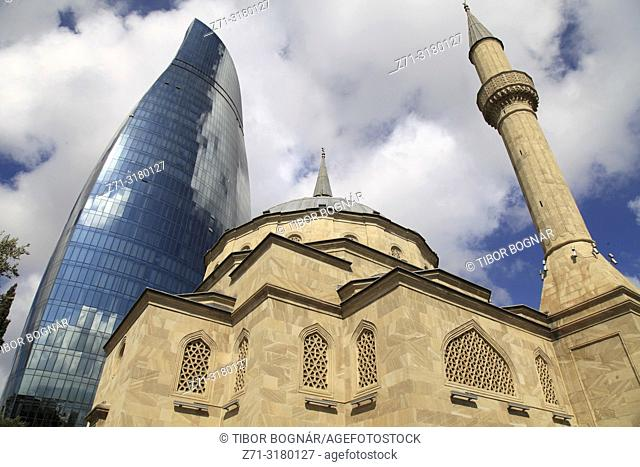 Azerbaijan; Baku; Martyrs' Mosque; Flame Tower, Sehitlik Mescidi; islam; muslim; religion; monument; travel; Europe; nobody