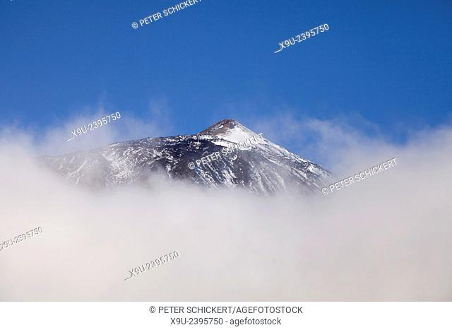 top of Pico del Teide in the clouds, Teide National Park, Tenerife, Canary Islands, Spain, Europe