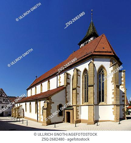 Eastern view of St. Martin's Church in the village of Neuffen, Wurttemberg, Germany