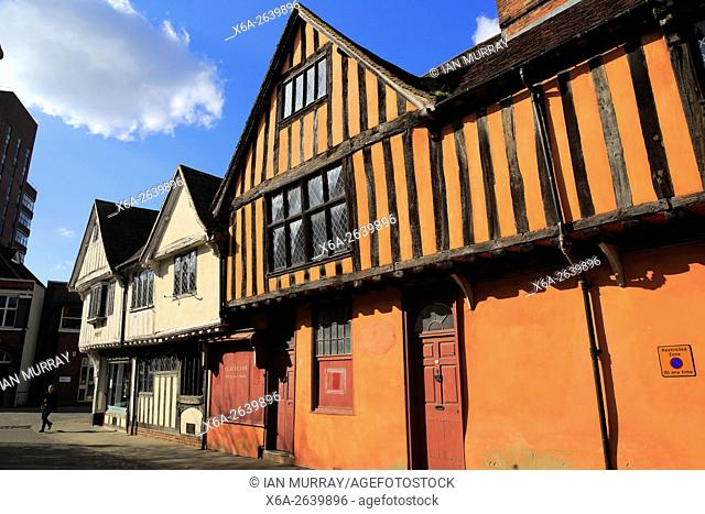 Historic half-timbered Tudor buildings in town centre, Ipswich, England, UK