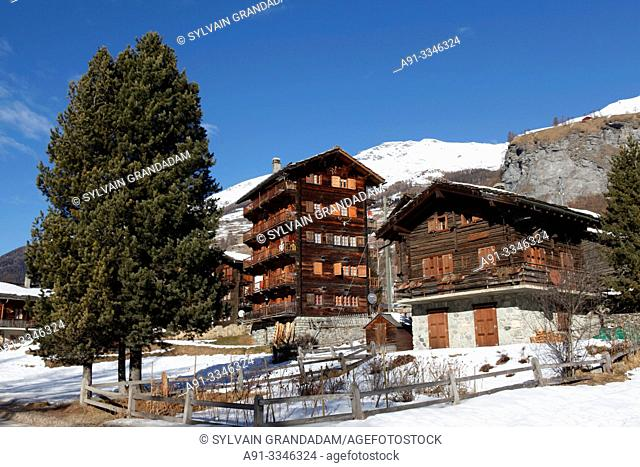 Switzerland, Valais, Val d'Herens, village of Evolene , hamlet La Tour, local wooden skyscraper/ Suisse, Valais, Val d'Herens, village d'Evolene