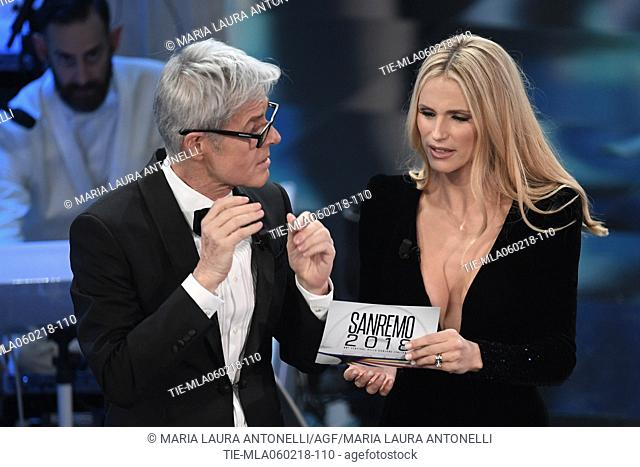 Claudio Baglioni, Michelle Hunziker during 68th Festival of the Italian Song. Sanremo, Italy 06/02/2018