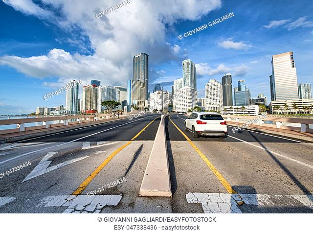 Road to Downtown Miami from Brickell Key Drive