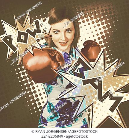 Pop art photo illustration of a cartoon comics pin up girl throwing boxing punch with a bam and pow when making strong impact on dotted background