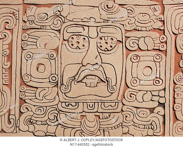 Glyph, Mayan ruins of Kohunlich (Pre classic & Early Classic, 100 - 600 A.D.). Quintana Roo, Mexico