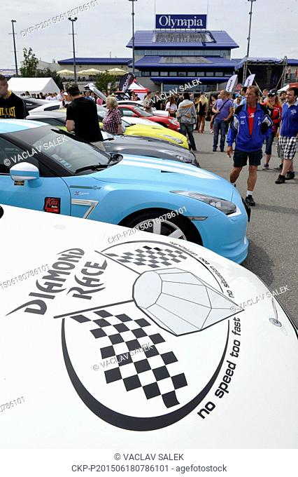 Luxury cars at the start of Diamond Race 2015 in Brno, Czech Republic, June 18, 2015. First phase finishes in Slovakia and the goal is Budapest, Hungary