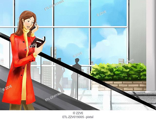 Woman on Escalator using phone