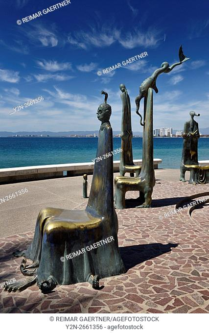 The Roundabout of the Sea bronze sculptures on the Malecon Puerto Vallarta Mexico