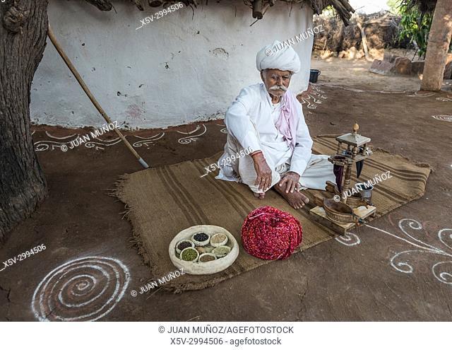 Opium ceremony, Elder bishnoi, Jodphur, Rajhastan, India