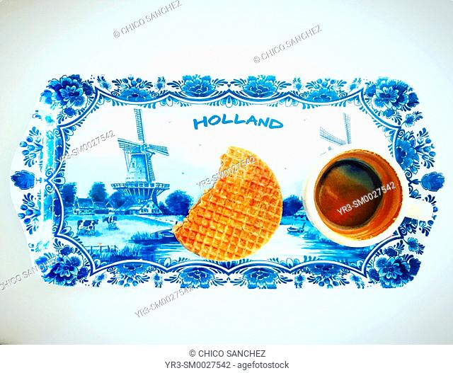 Stroopwafel and coffee express in a tray reading Holland in a restaurant in Mexico City, Mexico