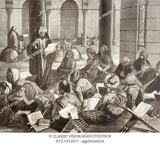 Professor lecturing at the Al-Azhar University, Cairo, Egypt in the 19th century  From El Mundo Ilustrado, published Barcelona, 1880