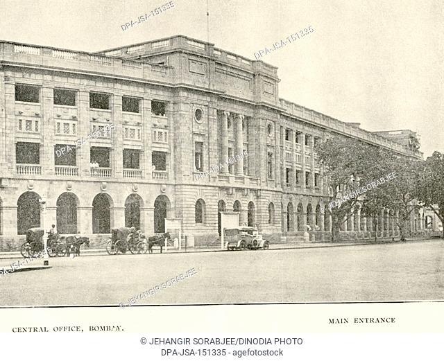 Central office Bombay ; main entrance ; Bombay now Mumbai ; Maharashtra ; India
