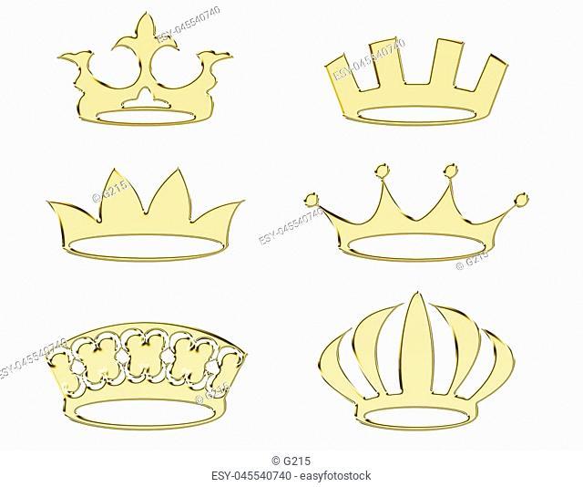 Golden crowns - set of gold crown symbols