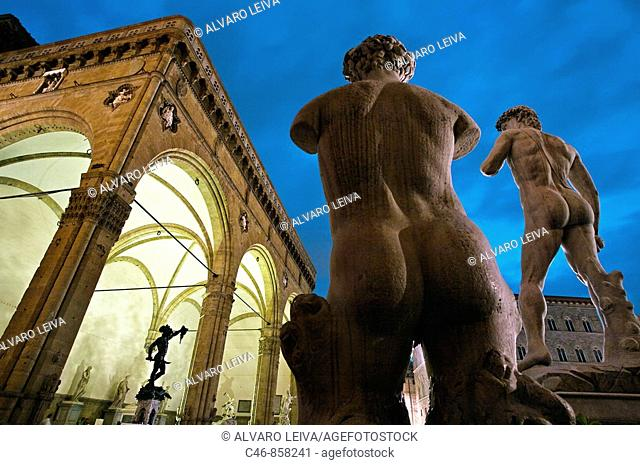 Statue of David by Michelangelo. 1501 - 1504. Piazza della Signoria. Florence. Tuscany. Italy