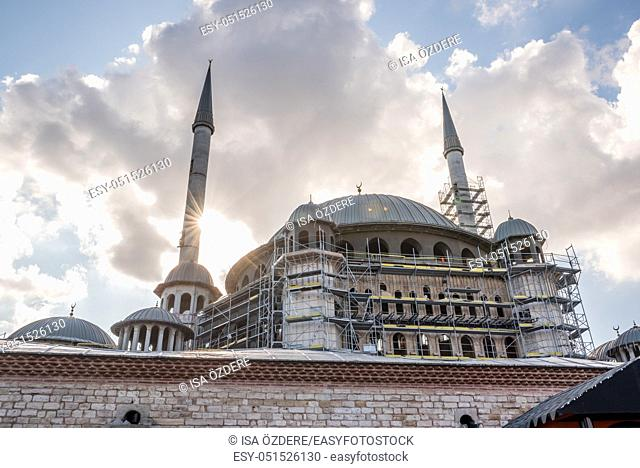 View of Taksim Mosque construction building which locate in Taksin square in beyoglu, Istanbul, Turkey