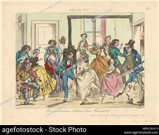 Die unterbrochene Lektion beim Tanzmeister. Zinke, Johann Wenzel, 1797-1858 (Engraver) Cajetan, J. (Artist). Prints depicting dance Subjects