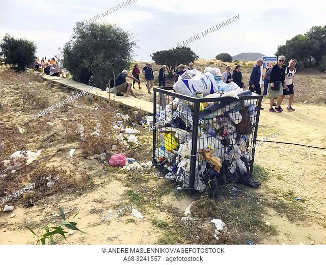 Waste on Golden Beach. North Cyprus, Karpass Peninsula