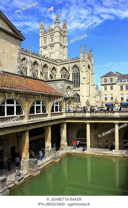 England Avon Bath Roman baths overlooked by Bath Abbey Jeanetta Baker