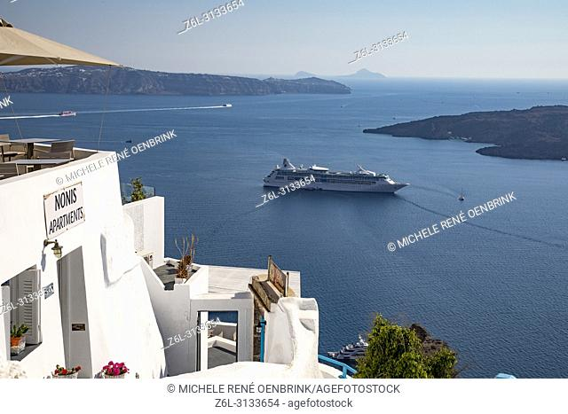 Scenic overlook of the volcanic caldera at the town of Fira, Cyclades islands, Agean Sea, at the Santorini Greece
