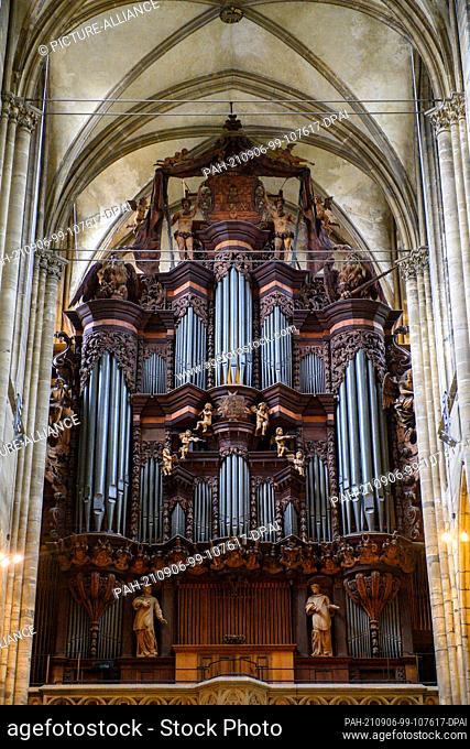 26 August 2021, Saxony-Anhalt, Halberstadt: The baroque facade of the organ of Halberstadt Cathedral. The organ was built by organ builder Heinrich Herbst and...