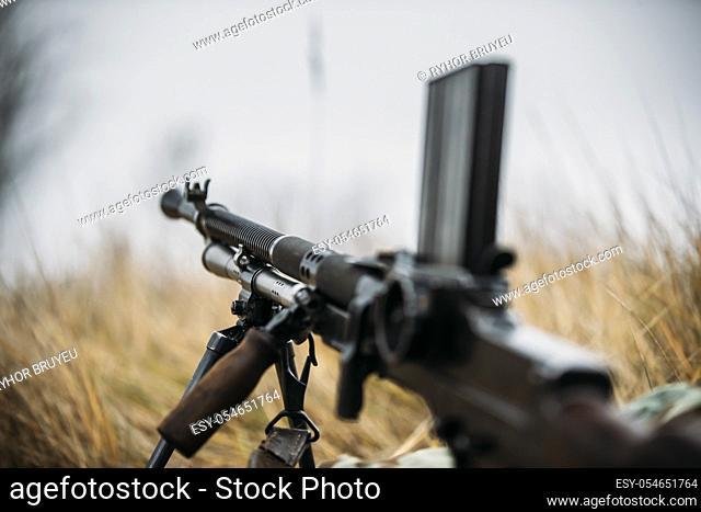 German Wehrmacht Infantry Soldier's Military Weapon Of World War II. The Zb-30 Czechoslovakian Light Machine Gun On Ground