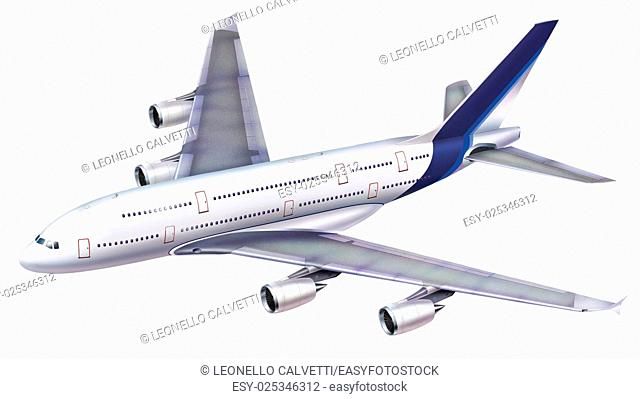 A 380 passenger aircraft. Viewed from above in perspective, on white background, with clipping path