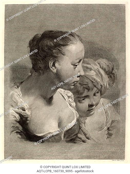 Marco Alvise Pitteri after Giovanni Battista Piazzetta (Italian, 1702 - 1786), Young Woman and a Boy Facing Right, engraving